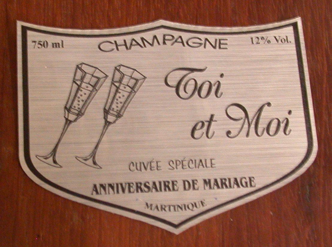 Étiquette champagne Mariage/Communion