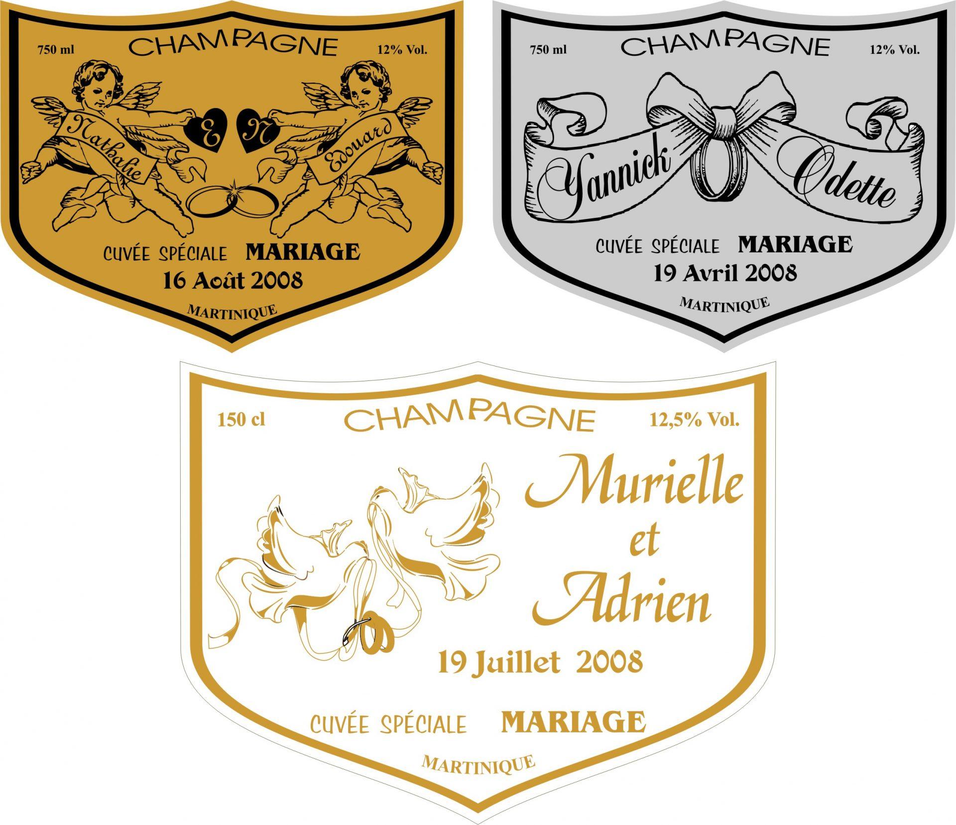 Étiquettes champagne Mariage/Communion